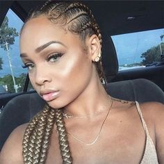 """Most commonly known as """"goddess braids,"""" cornrows, a style we've all grown up wearing, have been updated into a slew of chic variations. Box Braids Hairstyles, Popular Hairstyles, Girl Hairstyles, Hairstyle Braid, Black Hairstyle, Teenage Hairstyles, Afro Punk, Braids Blonde, Curly Hair Styles"""