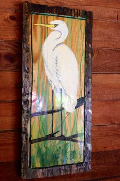 """Perched Egret painting 36"""" distressed frame one of a kind original on reclaimed wood home decor wall art by wildlife artist Todd Lynd by oceanarts10 on Etsy"""