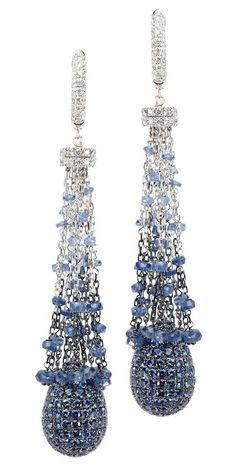 Blue Sapphire pave drop tassel earrings |= Mariani 1878