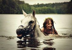 I love swimming with horses!