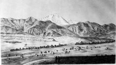 """View of Pikes Peak and Colorado City,"" lithograph by A. E. Mathews, ca. 1860s. Courtesy of Special Collections, Pikes Peak Library District."
