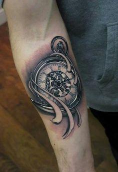 Beautiful pocket watch tattoo