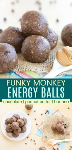 """Banana Chocolate Peanut Butter Energy Balls - your favorite sweet """"Funky Monkey"""" flavors in a fast healthy snack recipe that's easy to grab on the go. Fast, easy, gluten free, and vegan! Peanut Butter Banana, Chocolate Peanut Butter, Chocolate Recipes, Chocolate Chips, Banana Ball Recipe, Fruit Recipes, Snack Recipes, Vegan Recipes, Recipes Using Bananas"""