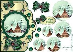 Christmas House, Trees and Snow Scene Scallop Pyramid Card