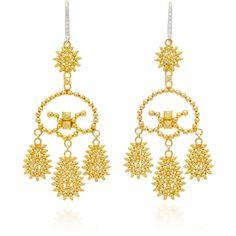Hanut Singh Tribal Girandole Earrings (€6.905) ❤ liked on Polyvore featuring jewelry, earrings, gold, gold geometric earrings, geometric earrings, geometric jewelry, yellow gold jewelry and tribal jewelry