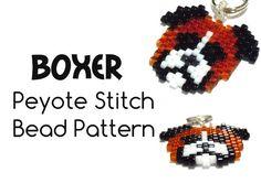Patrones del perro del boxeador del grano, Peyote Stitch Bead Weaving, Patrones Delica del grano para Pendientes, Colgantes y pinjantes
