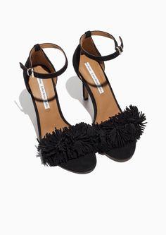 & Other Stories image 2 of Suede Fringe Sandalette in Black