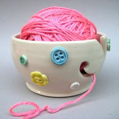 Button Yarn Bowl, Knitting bowl, sugar drop- Handmade stoneware and porcelain pottery. $36.00, via Etsy.