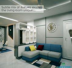 Subtle mix of features exudes the living room unique... For more; http://www.monnaieinteriors.com/ #Livingroom #interiordesign #Sofa