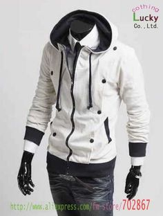 Mens jacket Two fold design cardigan thick Hooded Sweater Fashion New Men Slim Style Coat JA18  Black, white