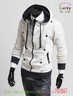 Mens jacket Two fold design cardigan thick Hooded Sweater Fashion New Men Slim Style Coat JA18  Black, white