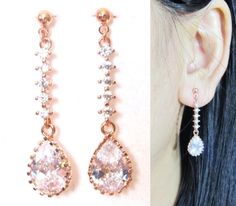 CZ Crystal Wedding Clip-On Earrings 20G Rose Gold by boadNNcraft