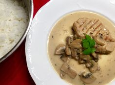 Pork with mushrooms • Steamed rice