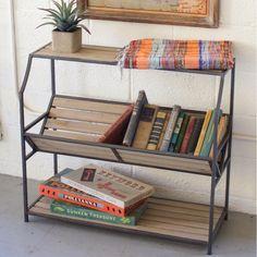 Metal and Wood Slat Library Book Shelf