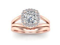 Rose Gold / Moissanite Engagement Set / Halo Bridal Set / 1.10 Carat Forever One Moissanite / 14K Rose Gold Diamond Bridal Set7 #weddingband #ring #jewelry #engagement #design #armante #esty