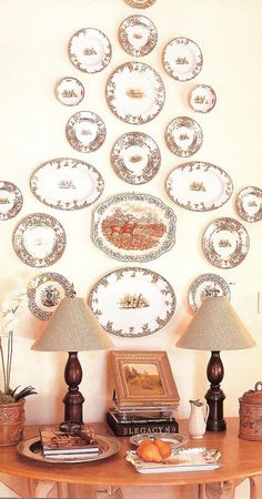 Plates display and details on table