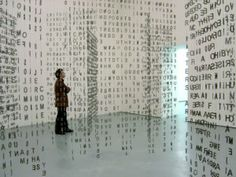 Curtain of letters and symbols. Interactive Art.