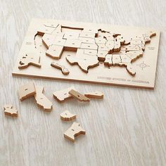 Shop My Puzzle Tis of Thee. Feel like putting a puzzle together? This wooden USA puzzle solves both of those issues. Pieces are heat stamped with state abbreviations and fit neatly into corresponding outlines on the tray. Puzzles Für Kinder, Puzzles For Kids, Usa Puzzle, World Map Puzzle, Land Of Nod, Montessori Toys, Montessori Bedroom, Montessori Toddler, Preschool Toys