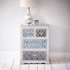China Club Chest of Drawers- Silver and Brushed Blue