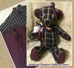 Memory Bear bunny made from loved ones clothing, shirt. Find me on facebook: Creative Crafts by Dawn or check out my website creativecraftsbydawn.webs.com