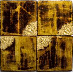 Handmade Ceramic Decorative Tile - Arabesque Corner in Tawny Amber & Och Glaze by DeKa Ceramic Tiles