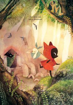The little red wolf - Amélie Fléchais Art And Illustration, Amelie, Guache, Fairytale Art, Illustrators, Fantasy Art, Book Art, Concept Art, Wolf