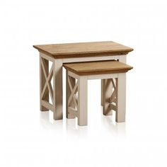Seychelles Painted and Brushed Solid Oak Nest of 2 Tables - Image 1 Solid Oak, Hardwood, Stool, Living Room, Seychelles, Nest, Tables, Furniture, Image