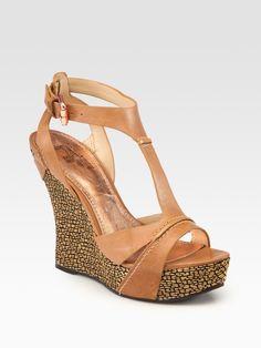 NEW! Belle by Sigerson Morrison Celsa Leather Wedge Platform Sandals, Sz 8.5