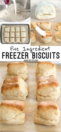 5 Ingredient Freezer Biscuits are the fastest and easiest way to have fresh, warm, and fluffy biscuits for breakfast any day of the week. BudgetBytes.com