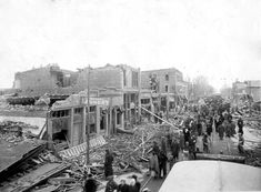 Easter Sunday ended tragically in Omaha in 1913. A powerful tornado swept through town that evening and killed 94 people. More than 3,000 buildings were damaged, and the property damage was estimated at $3.5 million. This photo is looking north on 24th Street from Erskine Street. THE WORLD-HERALD