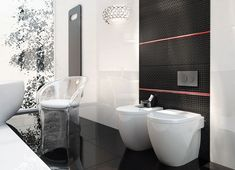 Black & white bathroom with Opp! ceramic tiles and Flexi structural decoration (90x30 cm)