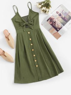 Shop Single Breasted Front Knot Cami Dress at ROMWE, discover more fashion styles online. Dress Outfits, Casual Dresses, Girl Outfits, Fashion Dresses, Summer Dresses, Casual Clothes, Dress Shoes, Korean Outfits, Trendy Outfits