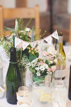 bunting wedding centerpieces / http://www.deerpearlflowers.com/unique-bunting-wedding-ideas/2/