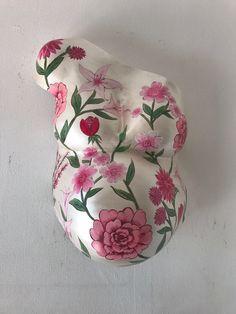 Gipsbuik parel bloemen beschilderd @mijnwonder.nl