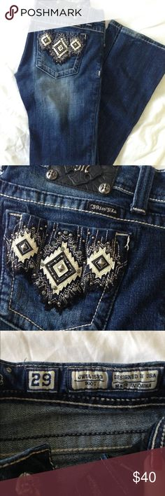 """Miss Me Jeans Gorgeous MissMe jeans with stunning back pocket detail! Pre-Loved with slight fraying on hem, feel free to make an offer! I'm 5'8"""" & these were long enough for me! Size 29, bootcut. Style # JW5416B3 Miss Me Jeans"""