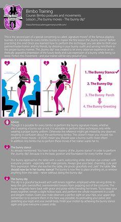 "Bimbo training - Bimbo postures and movements: ""The bunny moves - The bunny di. Bimbo-Training - B How To Be Seductive, Femdom Captions, Captions Feminization, Transgender Tips, Girl Train, Male To Female Transformation, Prissy Sissy, Feminized Boys, Tv Girls"