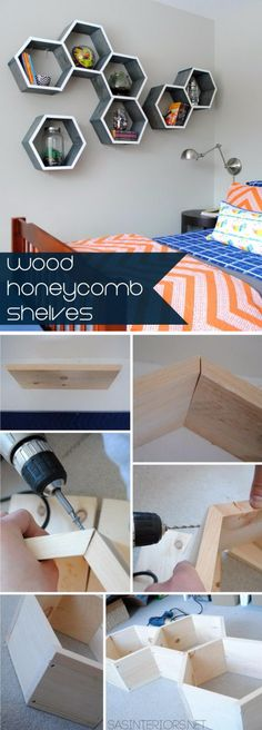 DIY Wood Honeycomb Shelves.