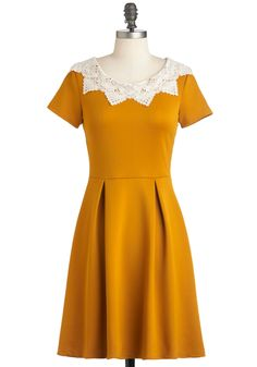 Curry Me Away Dress - Yellow, Tan / Cream, Solid, Crochet, Lace, Party, Work, Vintage Inspired, A-line, Short Sleeves, Fall, Mid-length