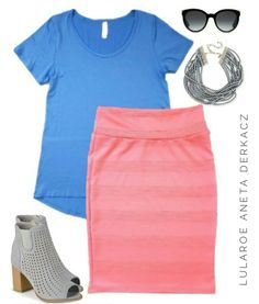 LuLaRoe outfit flatlay - Cassie skirt and Classic T combo!