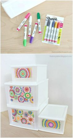 60 Plastic Bin and Drawer Decorating Ideas to Beautify Your Home Organizing Solutions - DIY & Crafts Plastic Organizer, Plastic Bins, Organizers, Diy Dorm Decor, Dorm Decorations, Decorate Plastic Drawers, Plastic Drawer Makeover, Diy Furniture Projects, Diy Projects