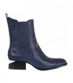 Alexander Wang Anouck Cut-Out Heel Leather Ankle Boot in midnight blue
