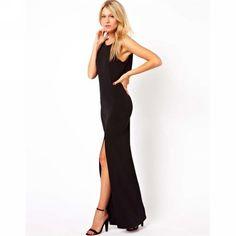 Maxi dress zwart met split