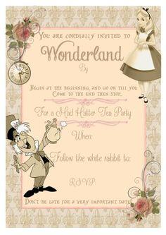 8 Vintage Alice in Wonderland  Invitations Party,Tea Party,Wedding