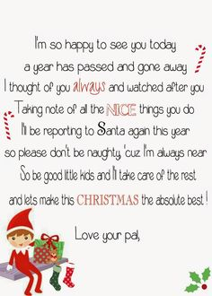 Free elf on the shelf return poem