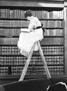 Reading girl on library ladder