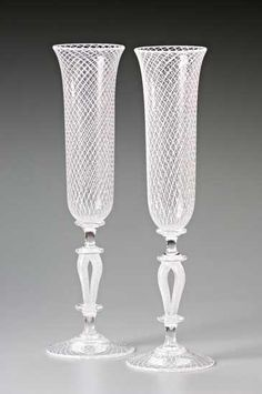 """""""White Reticello Wedding Goblets""""  Art Glass Goblets    Created by Kenny Pieper  Hand blown glass wedding goblets, with intricate cane work. Sold in a pair as shown."""