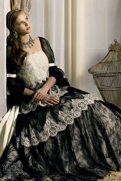 Bridal Black - black wedding dress; black wedding gown; black bridal gown with cream lace and black lace