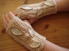 crochet fingerless gloves women woodland leaf by kathywelshart, $38.00