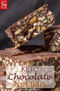 Deliciously crunchy Deliciously crunchy chocolately and nutty keto bars built to satisfy any chocolate craving you encounter. They're crazy simple to make and freeze and refrigerate really well. Keto Friendly Desserts, Low Carb Desserts, Low Carb Recipes, Dessert Recipes, Delicious Desserts, Keto Bars, Vegan Protein Bars, Cream Cheeses, Low Carb Chocolate
