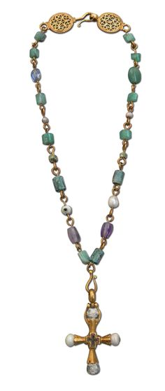 Byzantine_necklace.jpg (1156×2739)  Necklace with cross; gold/pearls/gems; Byzantine Empire; 6th/7th century AD